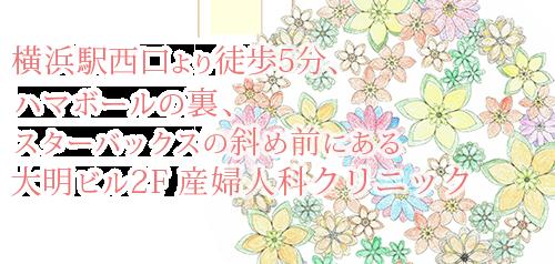 中野レディースクリニック-横浜駅西口より徒歩5分 ハマボールの裏、スターバックスの斜め前にある 大明ビル2F 産婦人科クリニック